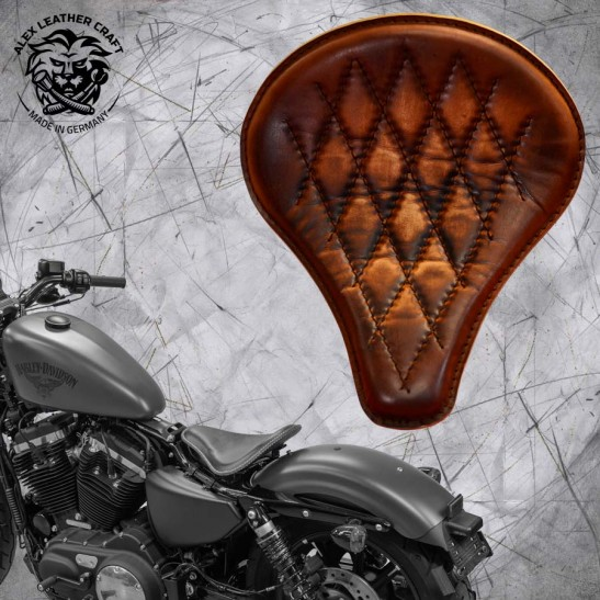 """Solo Sitz + Montage Kit Harley Davidson Sportster 04-20 """"Lang"""" Vintage Braun V3"""