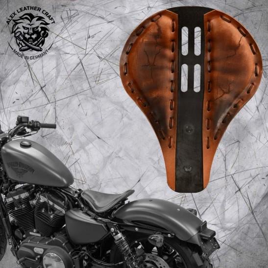 "Solo Sitz + Montage Kit Harley Davidson Sportster 04-20 ""Lang"" 4Fourth Electro Vintage Braun"
