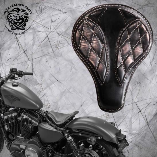 """Solo Selle + Montage Kit Harley Davidson Sportster 04-20 """"Long"""" Vintage Noir et Beige V3"""