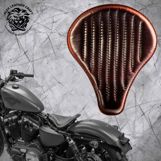 "Solo Seat + Montage Kit Harley Davidson Sportster 04-20 ""Long"" Dark Brown V2"
