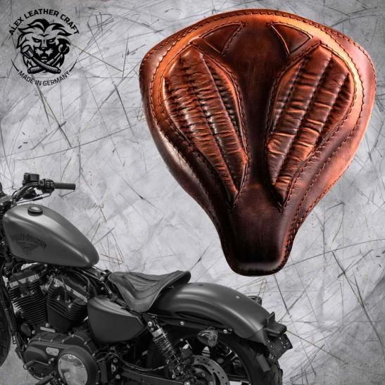 """Solo Selle + Montage Kit Harley Davidson Sportster 04-20 """"Araignée"""" Vintage Marron V2"""