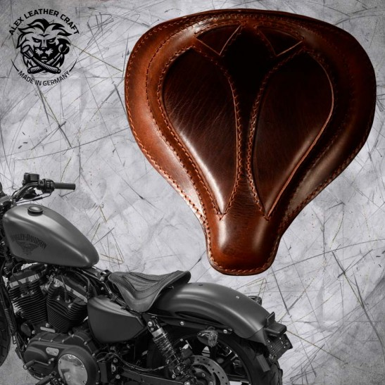 """Solo Seat + Montage Kit Harley Davidson Sportster 04-20 """"Spider"""" Buffalo Brown"""