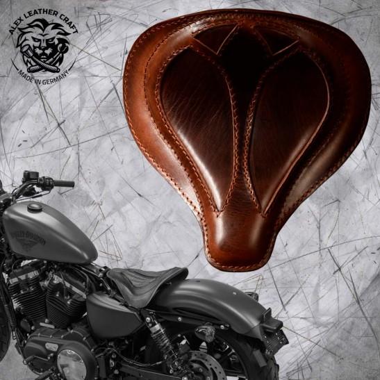 """Solo Sitz + Montage Kit Harley Davidson Sportster 04-20 """"Spider"""" Büffel Braun"""