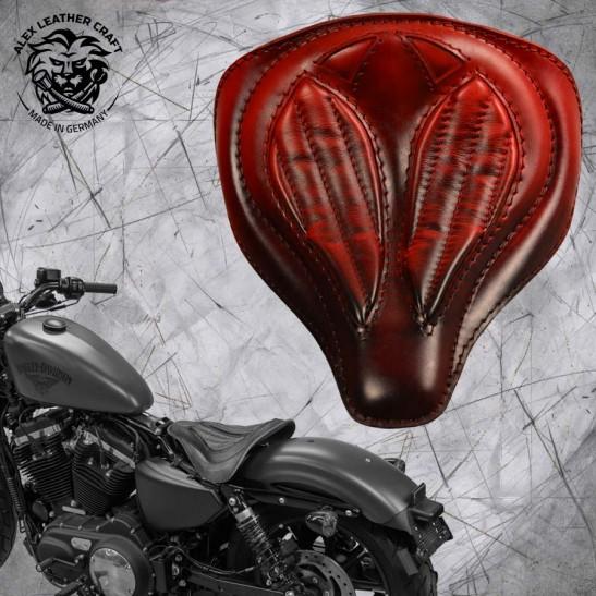 """Solo Seat + Montage Kit Harley Davidson Sportster 04-20 """"Spider"""" Red V2"""