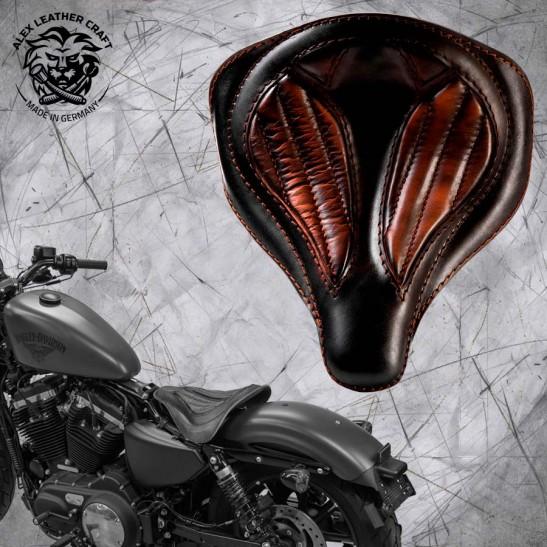 """Solo Seat + Montage Kit Harley Davidson Sportster 04-20 """"Spider"""" Black and Brown V2"""
