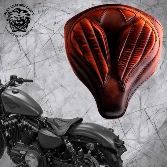 """Solo Sitz + Montage Kit Harley Davidson Sportster 04-20 """"Spider"""" Vintage Sattel Tan V2"""