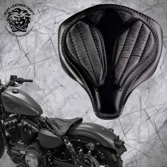 """Solo Selle + Montage Kit Harley Davidson Sportster 04-20 """"Araignée"""" Vintage Noir V2"""