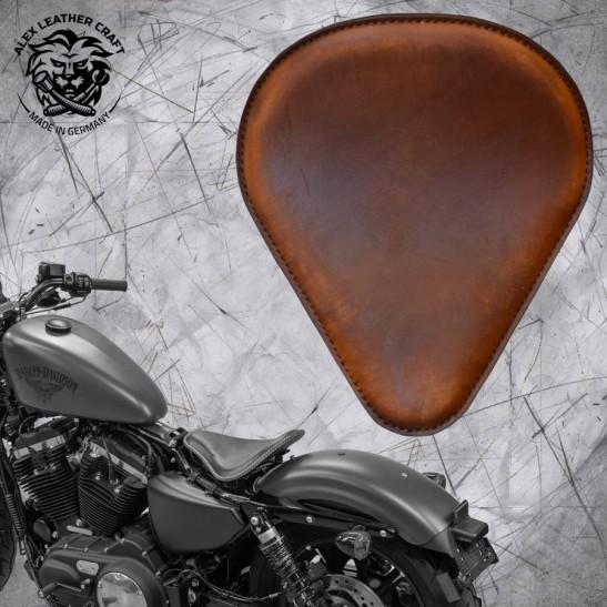 """Solo Selle + Montage Kit Harley Davidson Sportster 04-20 """"Drop"""" Vintage Marron"""
