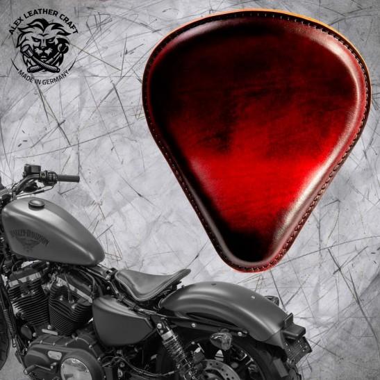 "Solo Sitz + Montage Kit Harley Davidson Sportster 04-20 ""Tropfen"" Vintage Rot"