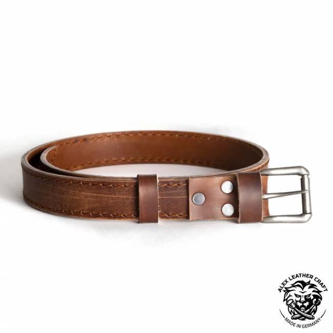 Leather Belt Vintage Brown 38 mm
