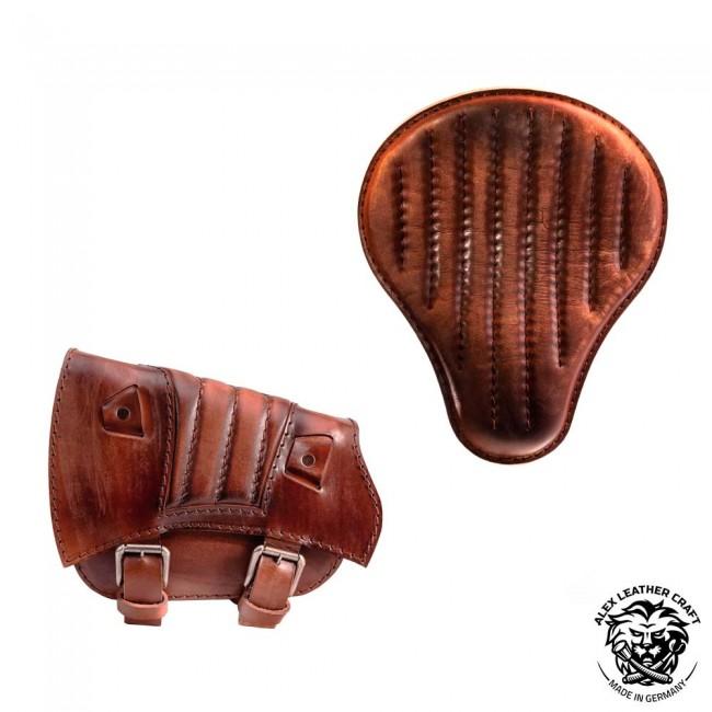 Sitz und Satteltasche für Triumph Bonneville Bobber Vintage Braun V2