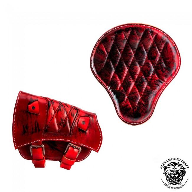 Sitz und Satteltasche für Triumph Bonneville Bobber Rot und Schwarz Rautenmuster