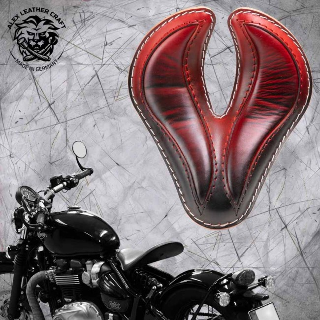 "Triumph Bonneville Bobber Seat since 2016 ""King Cobra"" Red"