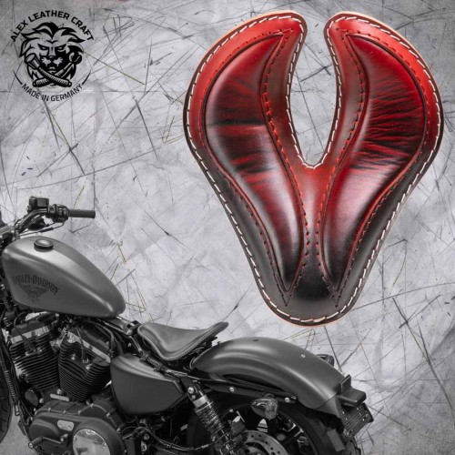 "Solo Sitz + Montage Kit Harley Davidson Sportster 04-20 ""King Cobra"" Rot"