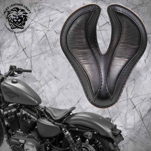 "Solo Sitz + Montage Kit Harley Davidson Sportster 04-20 ""King Cobra"" Vintage Schwarz"