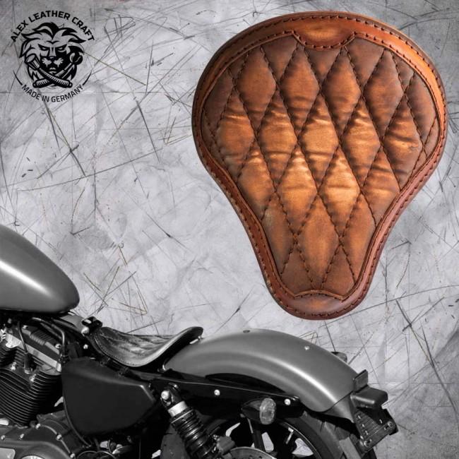 Solo Selle Harley Davidson Sportster 04-20 Vintage Marron de luxe Motif de diamant