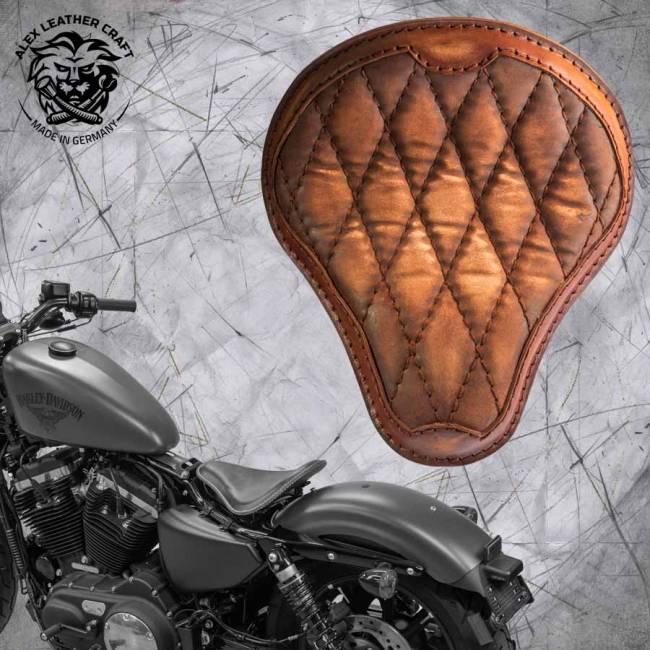 Solo Selle + Montage Kit Harley Davidson Sportster 04-20 Vintage Marron de luxe Motif de diamant