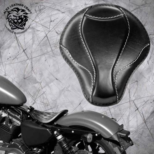 """Solo Sitz Harley Davidson Sportster 04-20 """"El Toro"""" Schwarz und Weiß"""