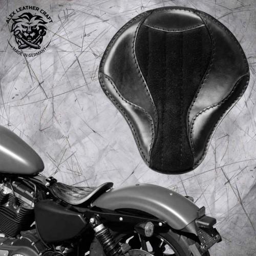"""Solo Sitz Harley Davidson Sportster 04-20 """"El Toro"""" Glanz und Samt Schwarz"""