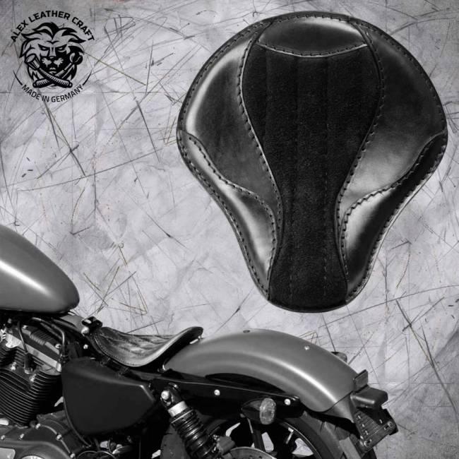 """Solo Selle Harley Davidson Sportster 04-20 """"El Toro"""" Gloss et Velours Noir"""