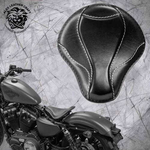 """Solo Sitz + Montage Kit Harley Davidson Sportster 04-20 """"El Toro"""" Schwarz und Weiß"""