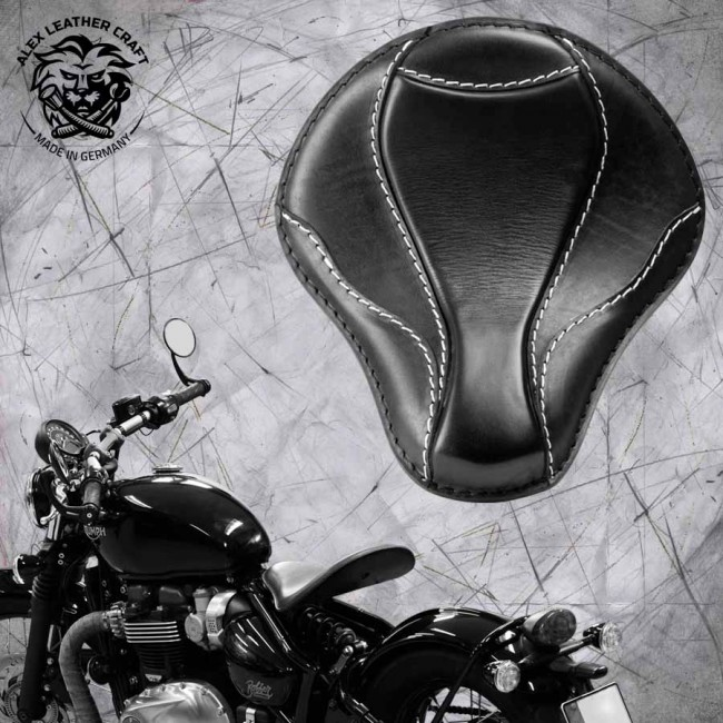 "Triumph Bonneville Bobber Seat since 2016 ""El Toro"" Black and White"