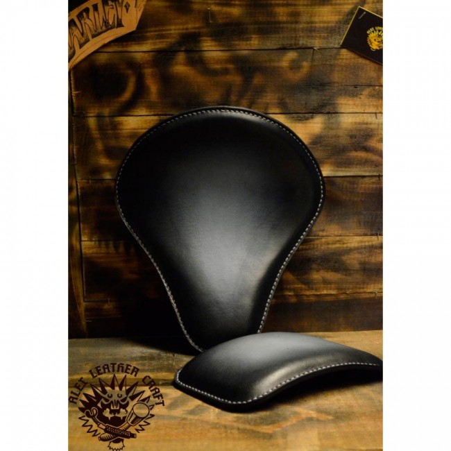 Bobber Seat + Pillion Seats/pads Black and White