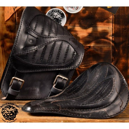 Seat + Saddlebag for HD Softail Spider Vintage black V2