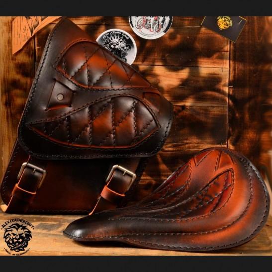 """Bobber Chopper Solo  Set Seat + Saddlebag """"Spider"""" Vintage Saddle Tan V3"""