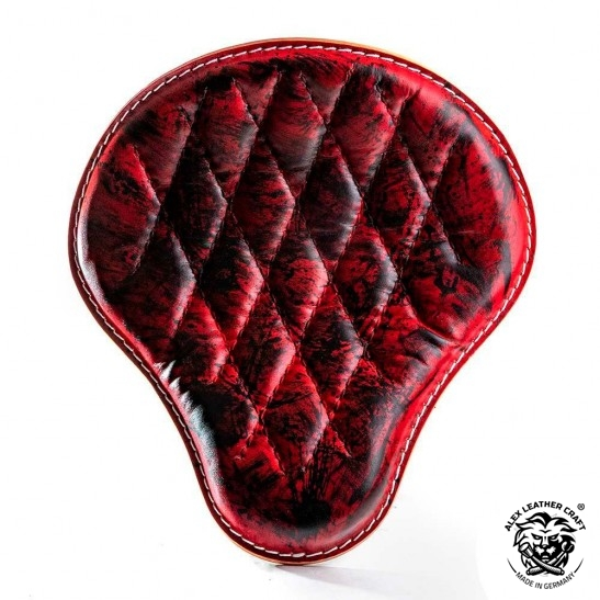 "Bobber Chopper Seat ""Red and Black""  Hand sewn V3"