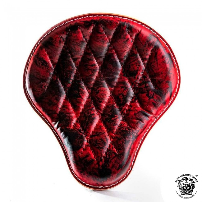 "Bobber & Chopper Custom Seat ""Red and Black"" Hand sewn V3"