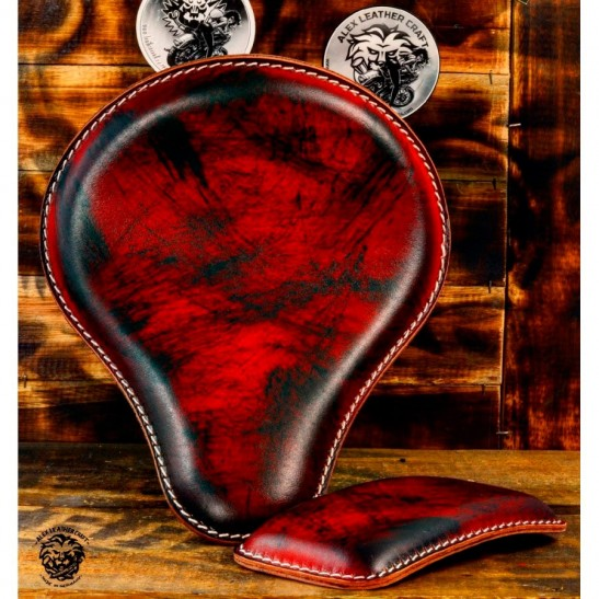 "Bobber Seat + Pillion Seats/pads ""Black and Red"""