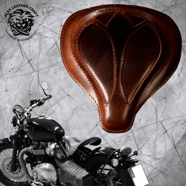 "Triumph Bonneville Bobber Seat since 2016 ""Spider"" Buffalo Brown"