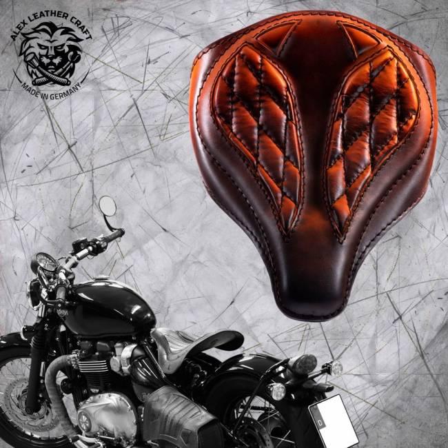 """Triumph Bonneville Bobber Seat since 2016 """"Spider"""" Vintage Saddle Tan V3"""