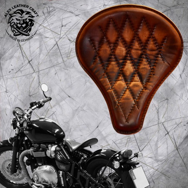 "Triumph Bonneville Bobber Seat since 2016 ""Long"" Vintage Brown V3"