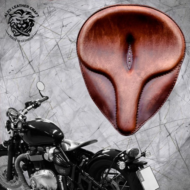 "Triumph Bonneville Bobber Selle de 2016 ""Old time"" Vintage Marron"
