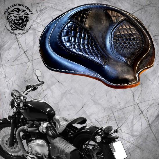 "Triumph Bonneville Bobber Seat since 2016 ""Spider"" Kroko Vintage Black"