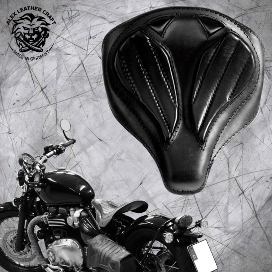 "Triumph Bonneville Bobber Seat from 2016 ""Spider"" Hand sewn Black V2"