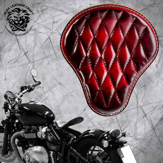 "Triumph Bonneville Bobber Seat from 2016 ""Standard"" Red Hand sewn V3"