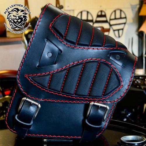 "Motorcycle Saddelbag Honda Shadow 600 ""Spider"" Black Hand sewn Red"