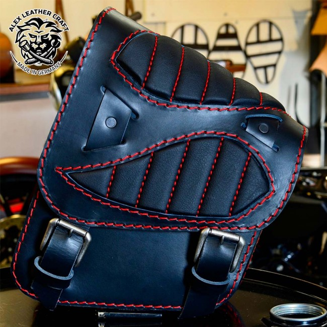 "Motorcycle Saddlebag Honda Shadow 600 ""Spider"" Black Hand sewn Red"