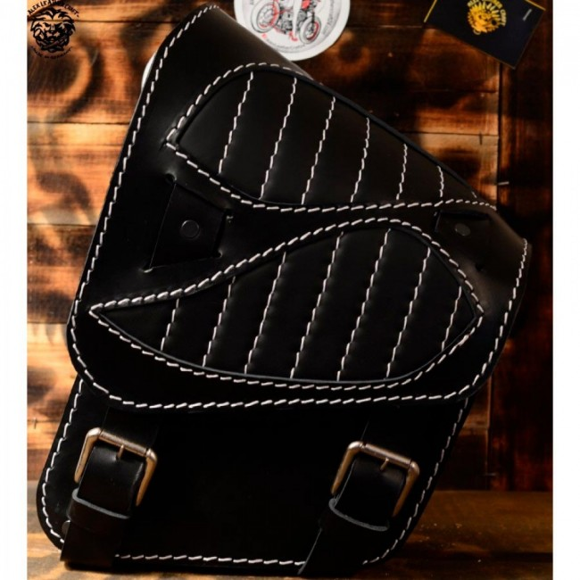"Motorcycle Saddlebag Softail since 2018 ""Spider"" Black Hand sewn White"