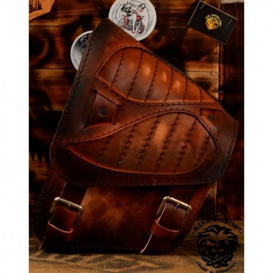 """Motorrad Satteltasche für Harley Davidson Softail """"Spider"""" Vintage Braun V2"""