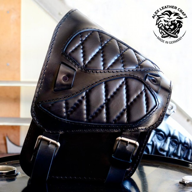 "Motorcycle Saddlebag Softail since 2018 ""Spider"" Black Hand sewn V3"
