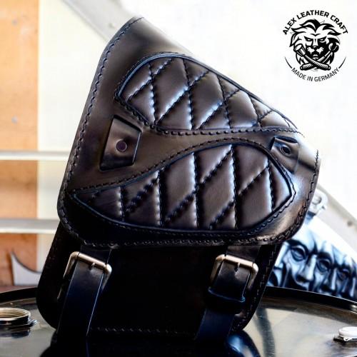 "Motorcycle Saddelbag Honda Shadow 600 ""Spider"" Black Hand sewn V3"