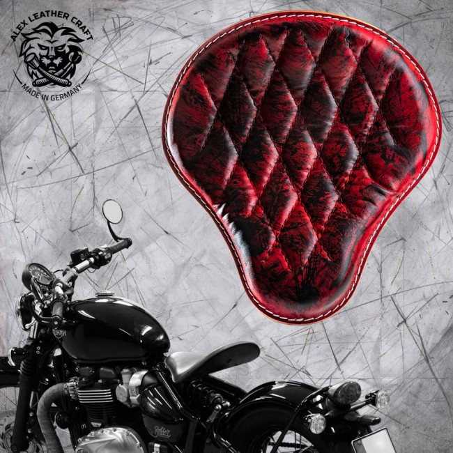 "Triumph Bonneville Bobber Seat since 2016 ""Standard"" Red and Black Hand sewn V3"