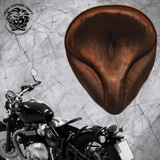 "Triumph Bonneville Bobber Seat since 2016 ""Old time"" Vintage Brown Electro"