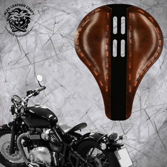 "Triumph Bonneville Bobber Seat since 2016 ""Long"" 4Fourth Buffalo Brown"