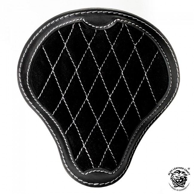 "Bobber & Chopper Custom Seat ""Gloss and Velvet"" Hand Sewn Black and White V3"