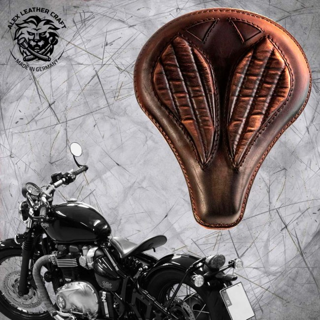 "Triumph Bonneville Bobber Selle de 2016 ""Long"" Vintage Marron V2"